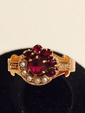 Vintage Antique Garnet & Seed Pearl 14K Yellow Gold Victorian Ring