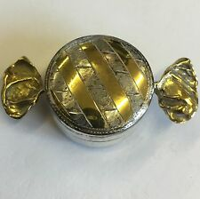 Antique Style Solid Silver & Gilt Novelty Sweet Pill Trinket Box 5cm Ari Norman