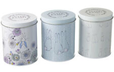 Peter Rabbit Set of 3 Storage Tins Vintage Canisters Jar Store Food Kitchen Gift