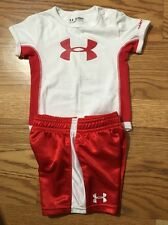 Under Armour 2PC Outfit Baby Toddler Size 3-6 Months Red And White