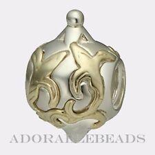 Authentic Chamilia Silver & 14kt Gold Fleur De Lis Bead KE-3  Retired