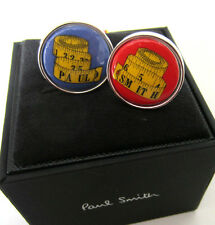 Paul Smith Tape Measure T-BAR CUFFLINKS Blue & Red with Yellow Cloth Tape Design