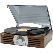Portable Turntable Retro 3 Speed Record Player Vinyl Stereo Speaker Antique Wood
