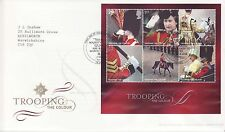GB Stamps First Day Cover Trooping the Colour MS, Royalty, Guards SHS Text  2005
