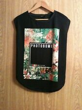 Bershka Collection Black Photobomb Hi Low Top New Size S