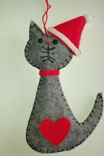 GREY SANTA CAT felt Christmas tree decoration LOVE HEART NEW