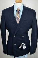 (36S) NEW Hardy Amies Men's Navy Blue Cotton Linen SLIM Blazer Sport Coat Jacket
