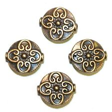 MB3127p Ornate Antiqued Copper 15mm Flat Round Flower Design Metal Bead 12/pkg