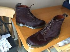 Dr Martens Bertie oxblood brogue leather pony hair boots UK 8 EU 42 punk biker