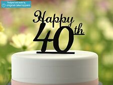 """Happy 40th"" - Black - 40th Birthday Cake Topper  - Made by OriginalCakeToppers"