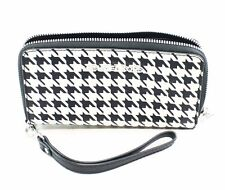 Michael Kors Black Houndstooth Saffiano Leather Zip Around Wristlet Wallet $108-