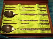 GOLD Plated Korean Style Stainless 18/10 Steel Chopstick Spoon set for Two (2)
