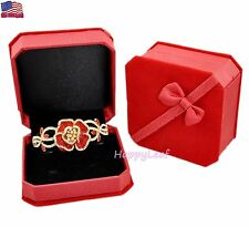 Deluxe Velvet Watch Bracelet Bangle Jewelry Gift Box Red and Blue w/ Ribbon bow