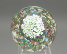 Vintage Murano Italian Art Glass Millefiori Paperweight White and Green Flowers