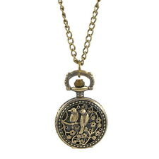5PC Necklace Chain Pocket Watch Hollow Love Birds W/Battery Bronze Tone 83cm