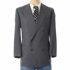 Ermenegildo Zegna 46R Super 100s Wool Double Breasted Side Vent Gray Suit Jacket