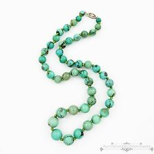 Antique Vintage Deco 14k White Gold Graduated Chinese Turquoise Bead Necklace!