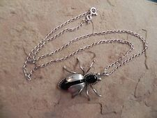 Onyx & Sterling Silver BUG INSECT Pendant & Sterling Chain Necklace Navajo