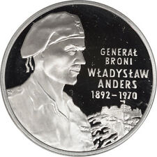 2002 POLAND SILVER 10 ZLOTYCH, GENERAL WLADYSLAW ANDERS, GEM PROOF IN CAPSULE