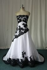 Plus Size Black and White Gothic Lace Wedding Dresses Bridal Gowns Custom 12-28+
