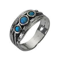 Rings Shablool Women's Silver Round Simulated Opal Blue