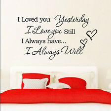 "Removable ""I Love You"" Quote Black DIY Home Decor Decal Room Wall Sticker Vinyl"