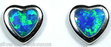 Cute 6mm Heart  Blue Fire Opal Inlay 925 Sterling silver stud post earrings