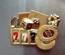 CASINO GAMBLNG SLOTS CHIPS DICE BLACKJACK LUCKY PIN BROOCHE NEW