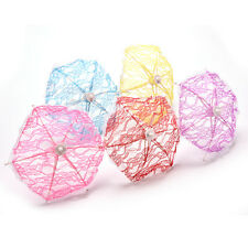 2x Fashion Umbrella for Barbies With Lace Girls Classic Dollhouse Furniture MW