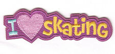 """""""I LOVE (HEART) SKATING"""" - Iron On Embroidered Patch - Skates, Sports, Words"""