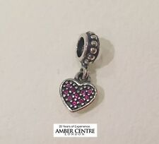 Genuine Pandora Sterling Silver S925 ALE-RED PAVE HEART PENDANT CHARM-791023CZR