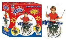 BOYS TOY DRUM SET WITH BASS CYMBAL CHAIR TOM DRUMS AND STICKS play musical NEW