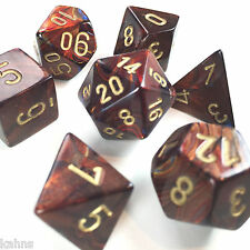 Chessex Dice Poly - Scarab Blue Blood w/ Gold - Set of 7 - 27419 Free Bag! DnD