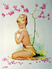 VINTAGE PIN-UP POSTER TOPLESS NUDE DAISY FLOWER GIRL PHOTO EROTIC PRINT ART