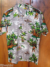 VINTAGE MENS ROYAL ISLANDER HAWAIIAN SHIRT GREY OUTRIGGER FISHING PALMS L KOREA