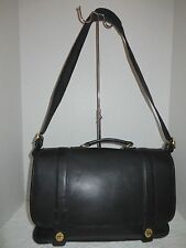 COACH BLACK LEATHER UNISEX ESSEX SHOULDER BRIEFCASE LAPTOP MESSINGER CASE