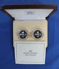 """1989 Silver Piedfort Proof £2 set """"Bill & Claim"""" in Case with COA  (X6/12)"""