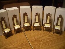 CROWN DOLLHOUSE 6 MAGNIFICENT ORNATE MEDIUM DARK DINING ROOM CHAIRS #DD-04 M/OB!