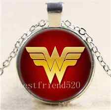 Wonder Woman Photo Cabochon Glass Tibet Silver Chain Pendant Necklace#6761