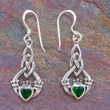 925 Sterling Silver CELTIC CLADDAGH Earrings Hook Dangle Green Irish Love Heart