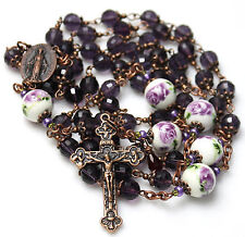"Antique Copper Purple Czech Crystals 29 1/4"" Rosary,Rosario,Handmade & free Gift"