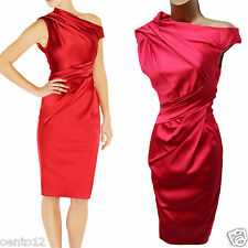 Karen Millen Pink Signature Stretch Satin Pleat Colour Block Wiggle Dress 10 UK