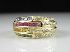 18K Multi Color Sapphire Diamond Ring Yellow Gold Wide Band 750 Fine Size 7