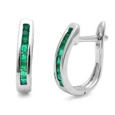 1.00Ct Round Green Emerald Channel Set Hoop Earrings in Heavy White Gold .