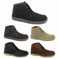 Roamers Mens Leather Suede Lace Up Square Wide G Fit Casual Ankle Desert Boots