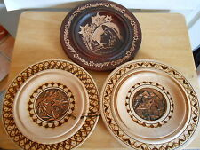European Carved Wood Set Of 3 Plates W/ Metal Inlay and Wood Burned Design