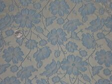 FRENCH FLORAL BROCADE-CHAMPAGNE/BLUE -DRESS/BRIDAL FABRIC-FREE P&P