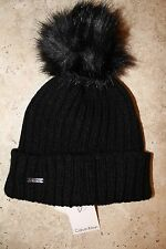NWT Women's CALVIN KLEIN Ribbed Knit Faux Fur Pom Pom Beanie Hat BLACK