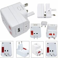 2x World Universal International Travel Adapter with Usb port UK EU AU US Plug