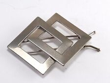 Vintage Hair Barrette Silver Tone Double Diamond Diagonal Square Accessory